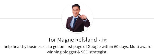 Tor Magne Refsland - LinkedIn Profile Headline