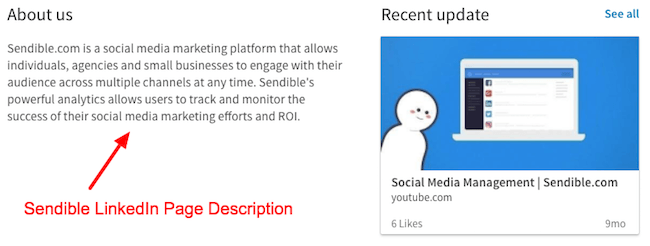 Sendible LinkedIn Page Description