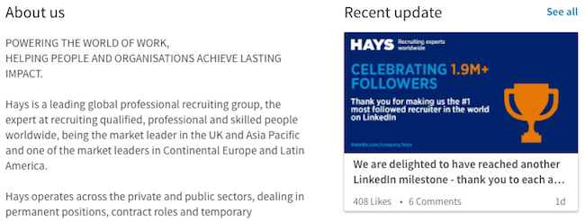 Hays - LinkedIn Page Overview