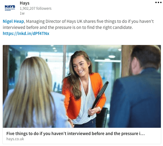 Hays - LinkedIn Page Recruiters