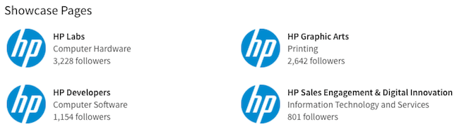 HP LinkedIn Showcase Pages