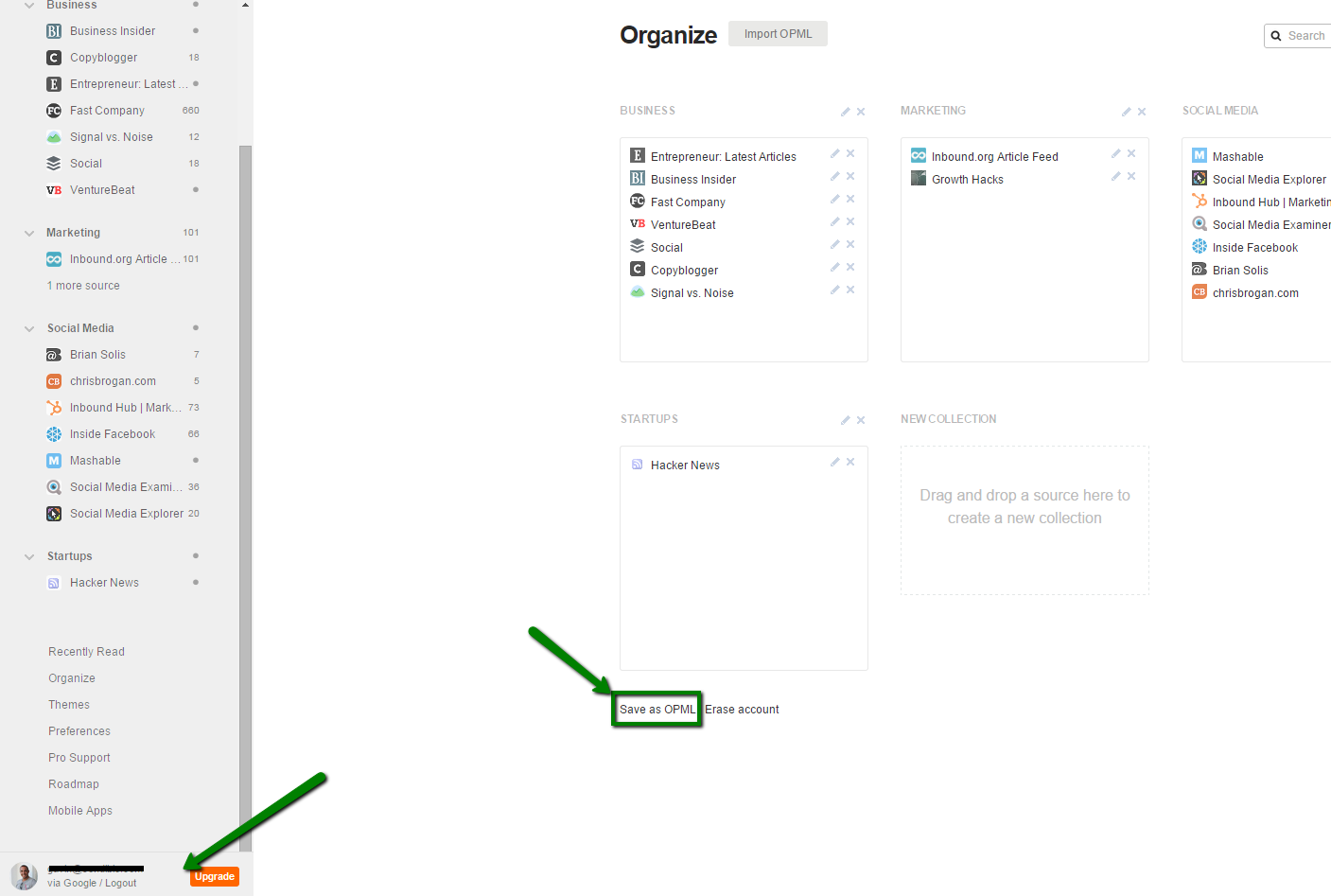 Feedly - Export OPML