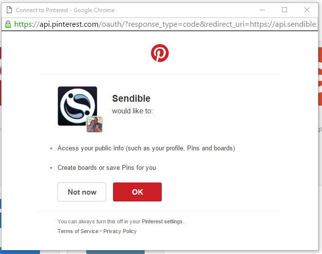 Authorise Pinterest to post on your behalf.