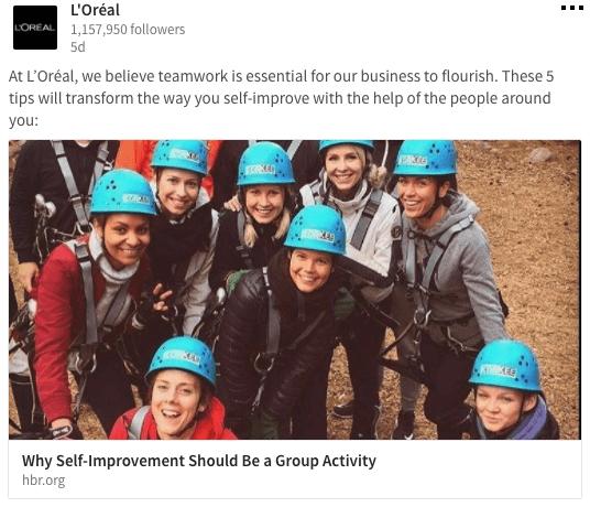 Loreal LinkedIn Company Page Content