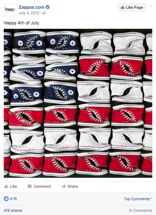 American flag made out of Converse sneakers by Zappos