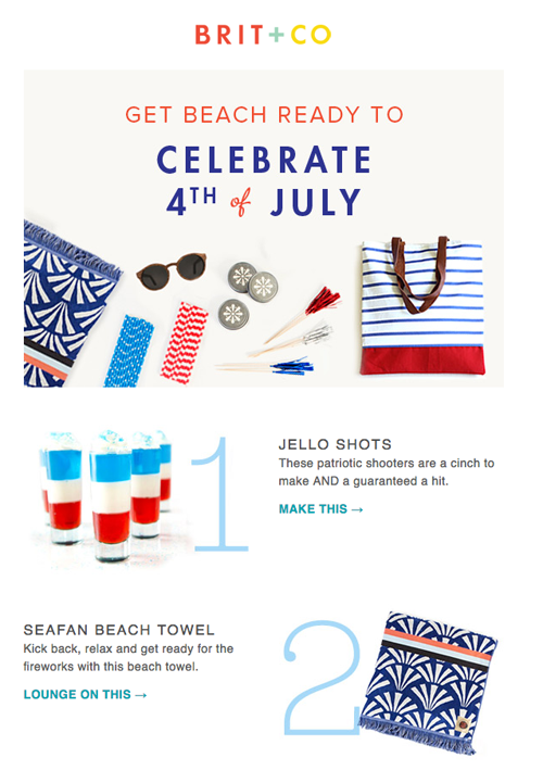 Brit. & Co sent a great newsletter with their products and tips for the holiday