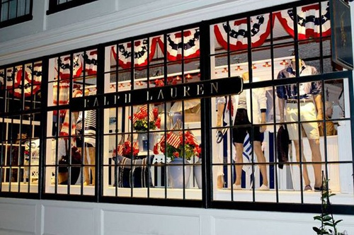 Ralph Lauren shop front, decorated for Independence Day