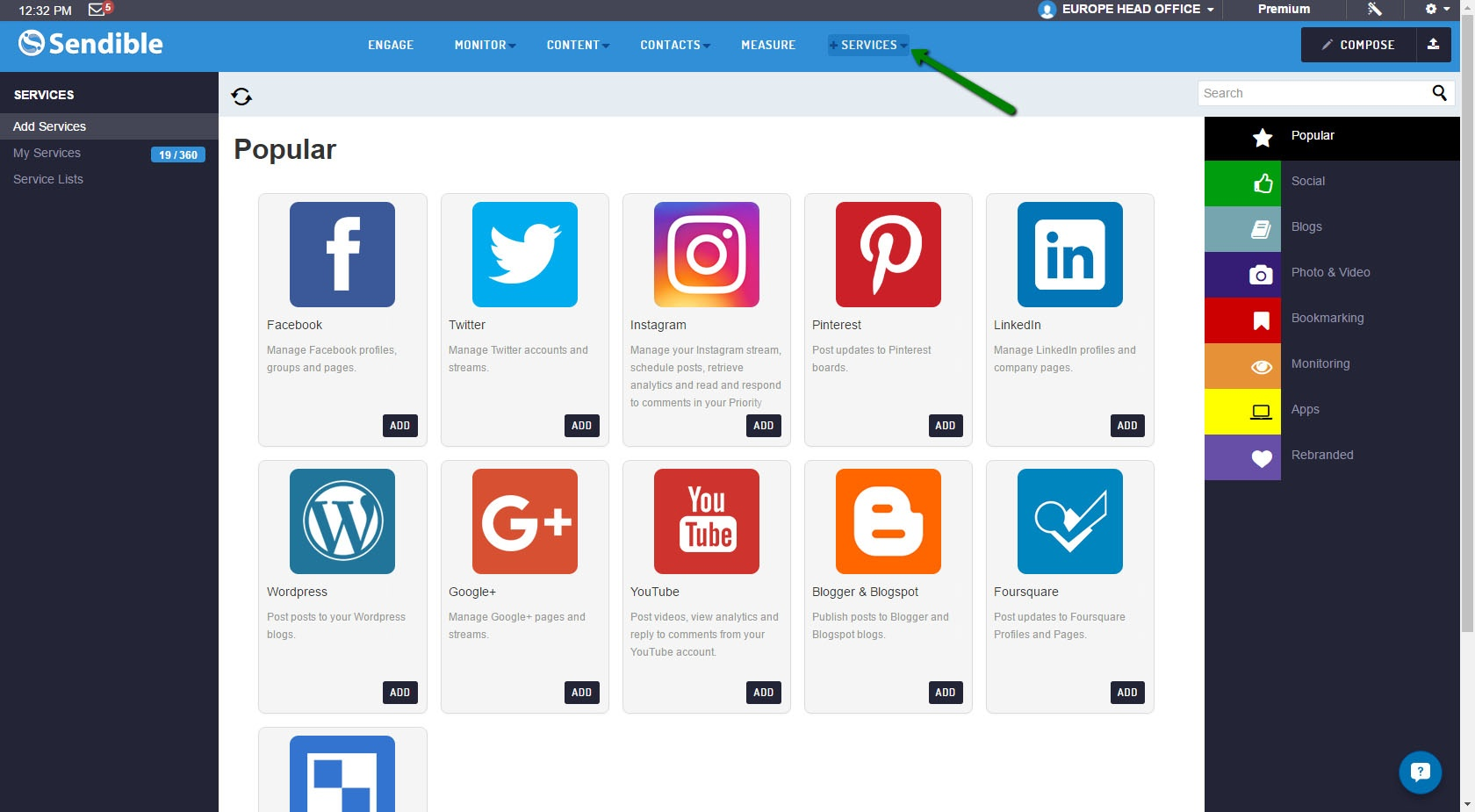 All major social media networks are available on Sendible