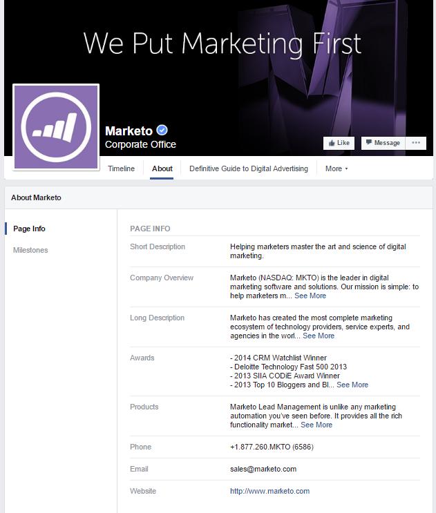 Marketo's Facebook page