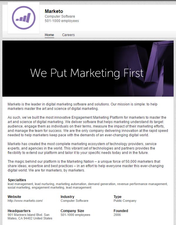 Marketo's LinkedIn page