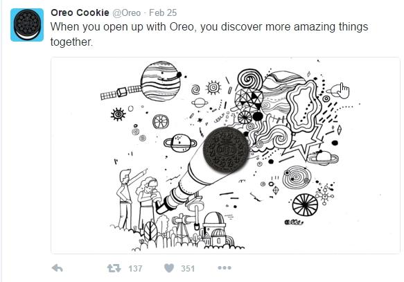 Fun Twitter post on Oreo Cookie's feed