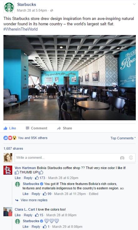 Starbucks engage with their customers on Facebook.