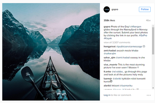 GoPro publish stunning visual photos on Instagram.
