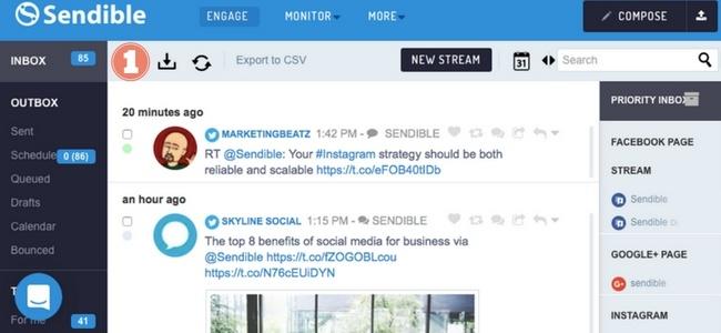Screenshot showing Sendible dashboard