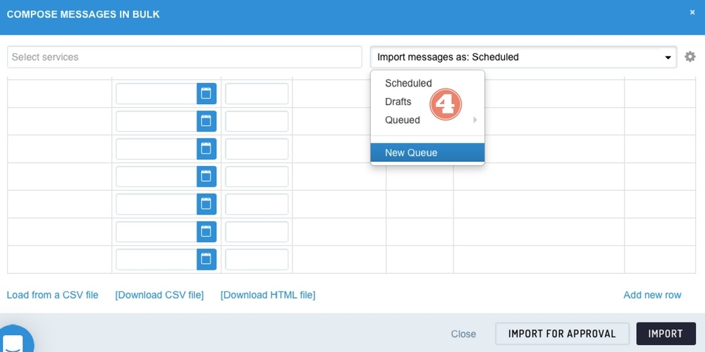 Screenshot showing where you can import posts