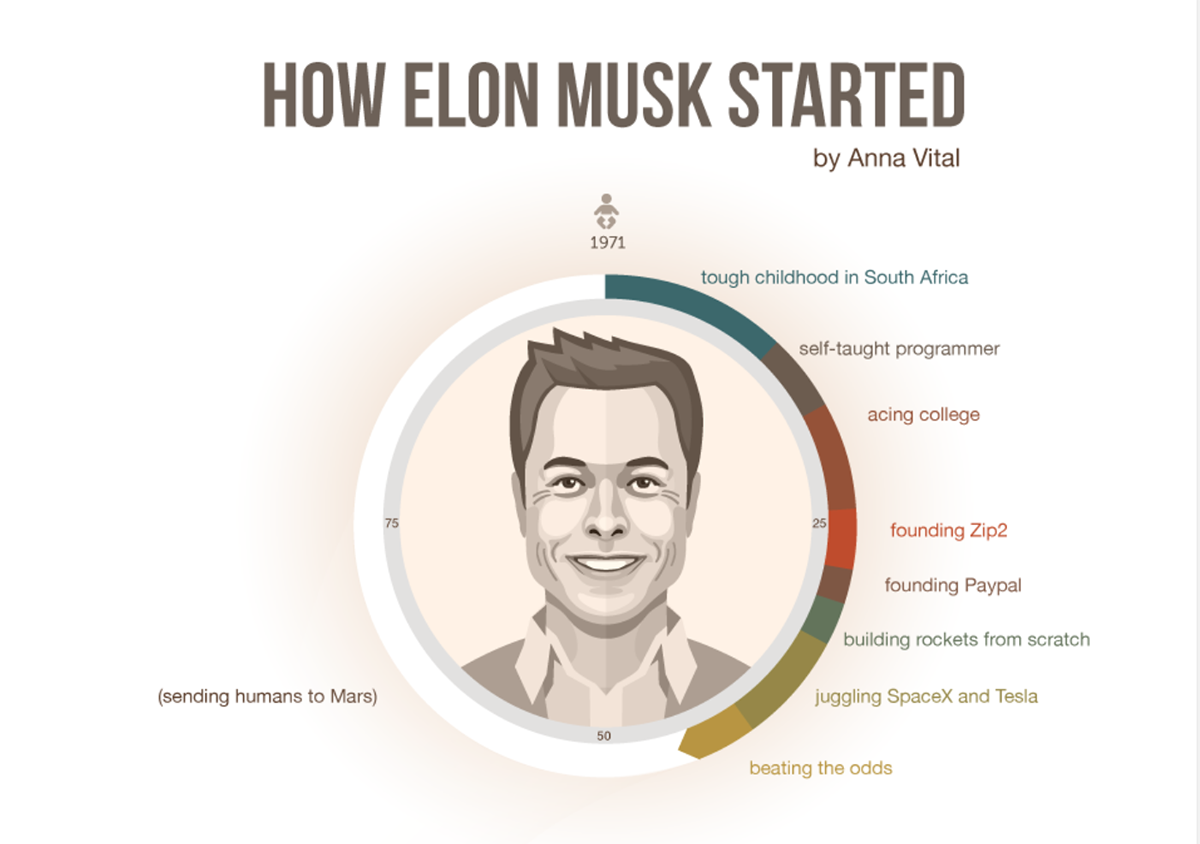 Outstanding infographic about Elon Musk by Funders and Founders