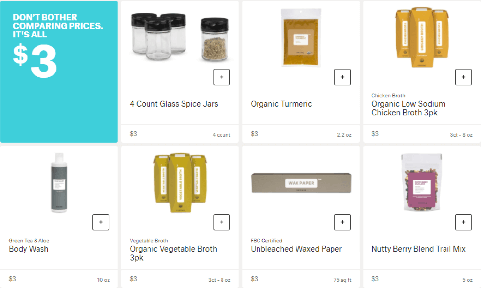 Retail products for $3 from Brandless