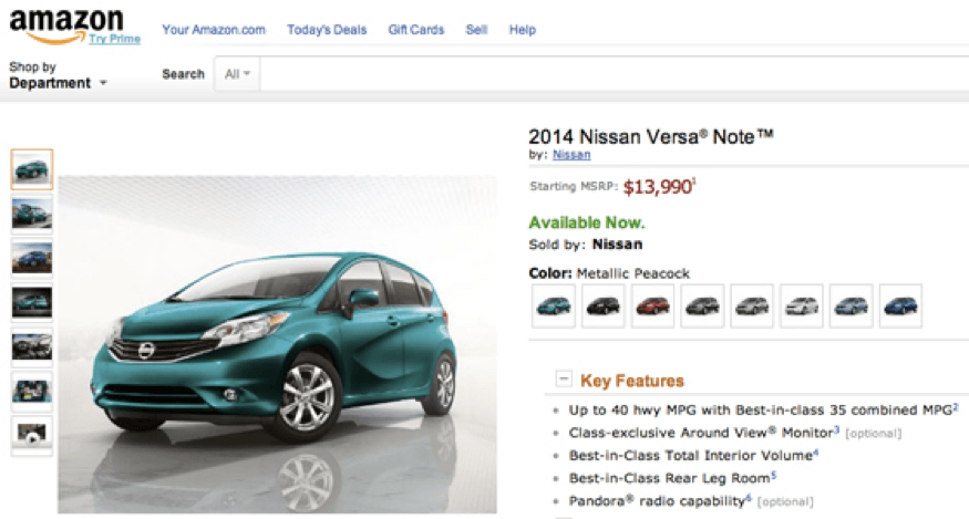Nissan Versa Note 2014 sold on Amazon
