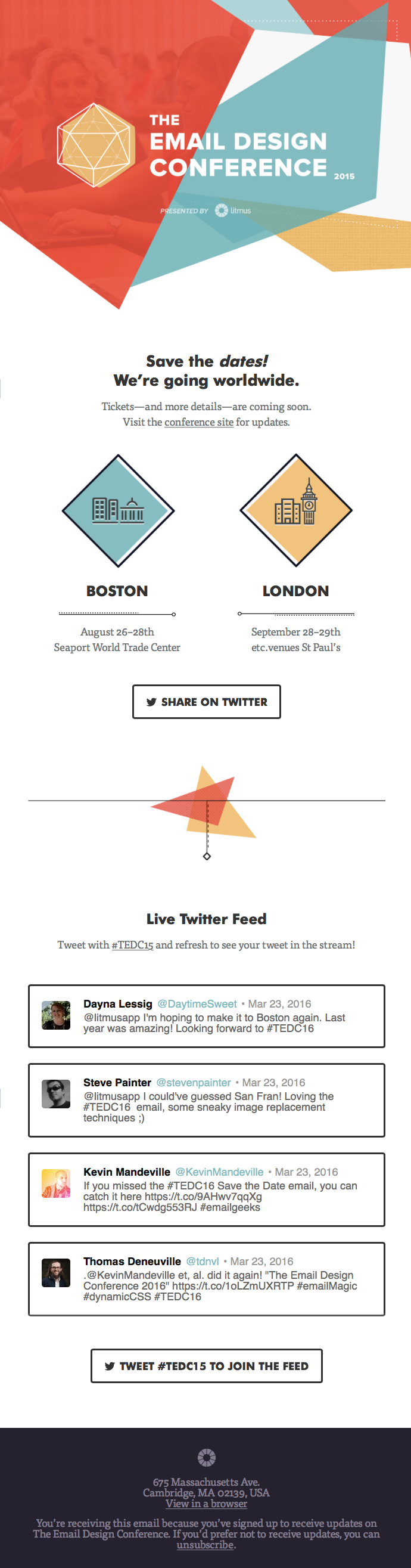 Email by Litmus for an event with a dynamic Twitter live feed