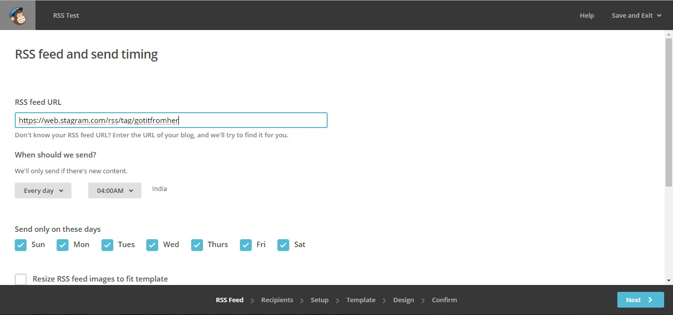Input the RSS feed link into your email service provider (ESP)