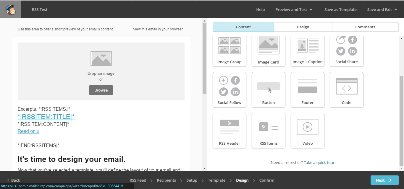 Add more blocks to enhance the RSS feed email