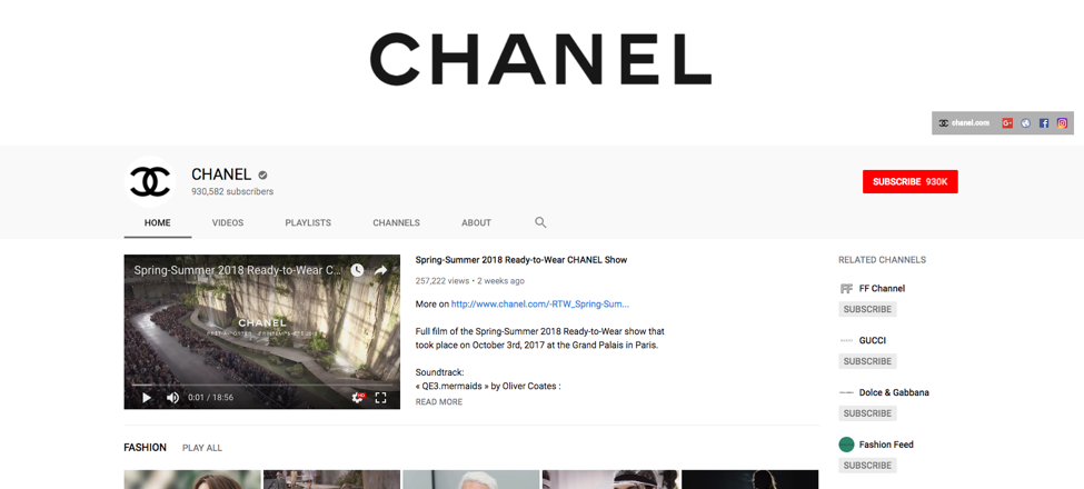 Chanel's YouTube channel
