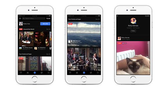 Facebook Live video streaming options