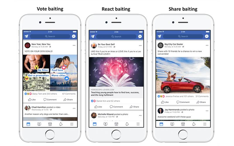 Engagement baiting on Facebook