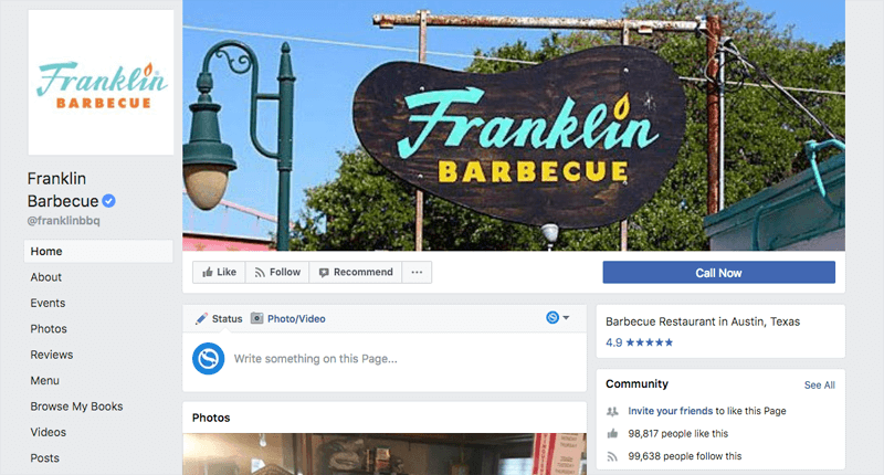 Franklin Barbecue Facebook Page with reviews