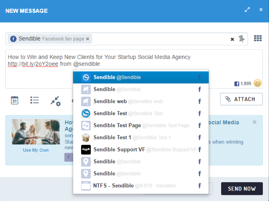Tagging Facebook Pages in Sendible's Compose Box