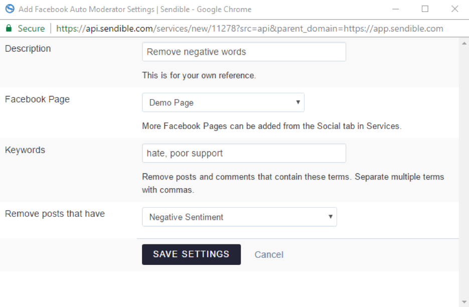 Auto-moderator for comments on Facebook Pages