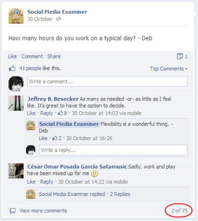Social Media Examiner asks questions on Facebook to encourage engagement