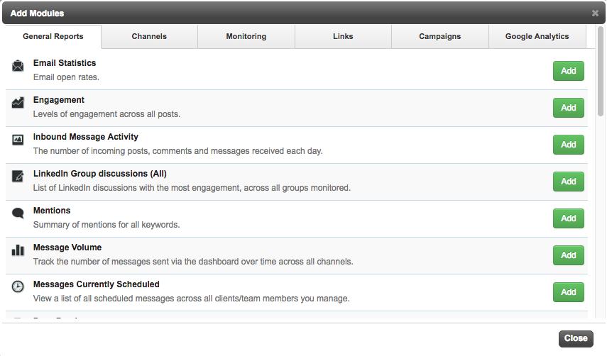 Sendible has a large number of social media report modules