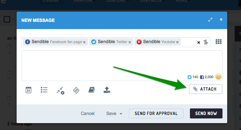 Select a Facebook, Twitter or YouTube service to attach a video