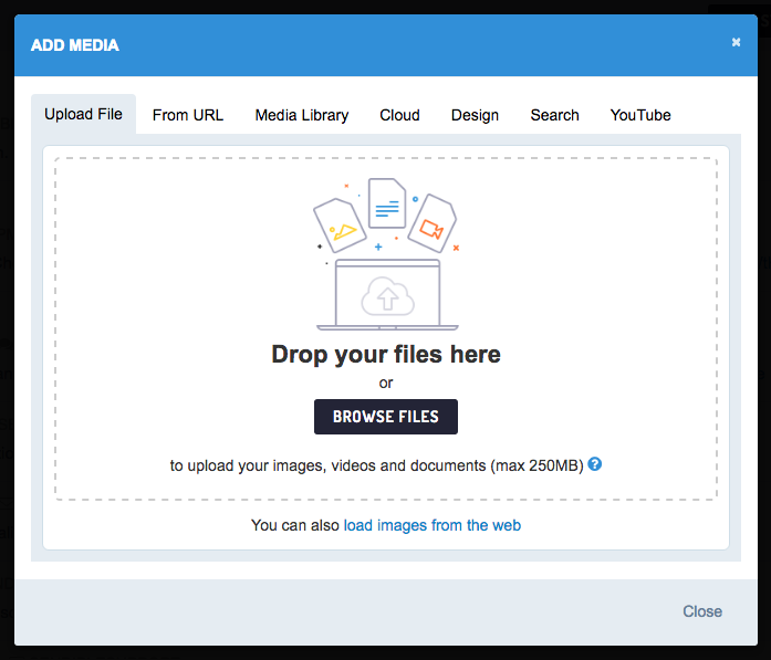 Attaching your social video in Browse Files