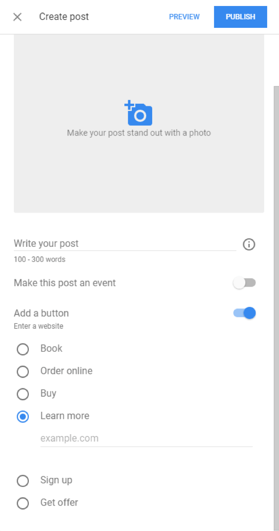 Google Posts options