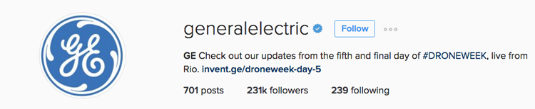 Great example of an Instagram bio