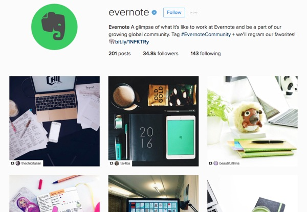 Evernote's branded Instagram page