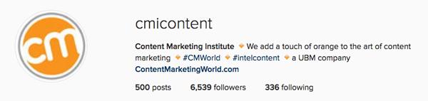 Instagram for business: Great Bio description by Content Marketing Institute