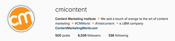 Instagram for business: Great Bio description by Content Marketing Institute