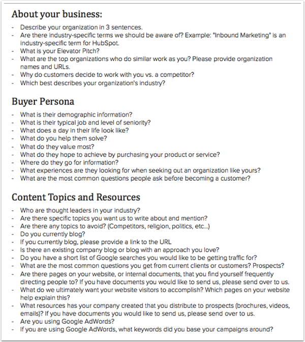 Survey questions to ask your inbound marketing clients