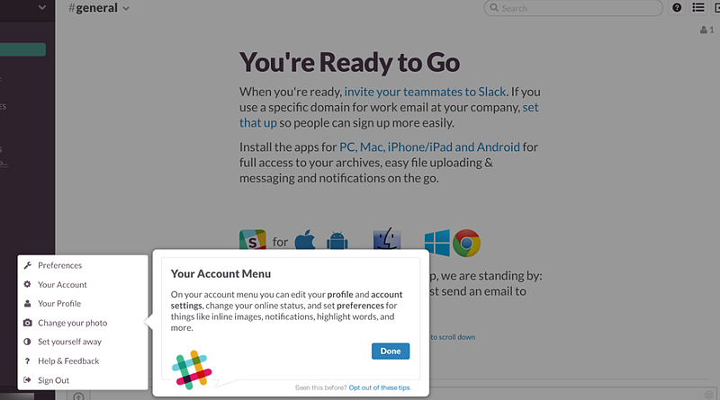 Great example of a simple onboarding by Slack