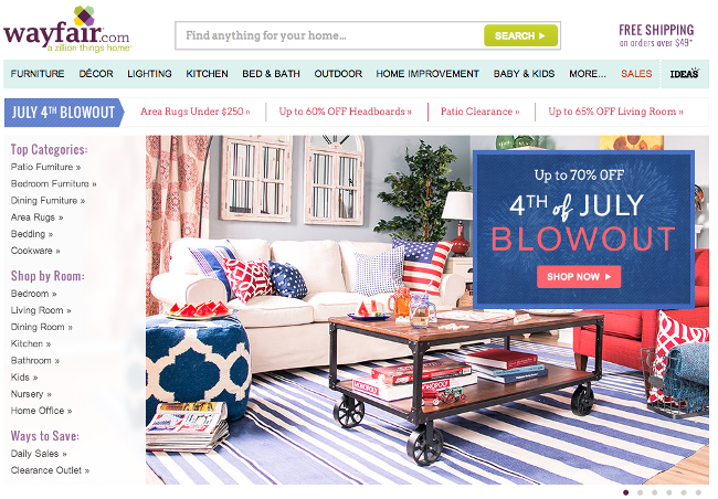 Fourth of July blowout sale at Wayfair