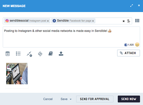 Composing messages to multiple networks is easy via Sendible.