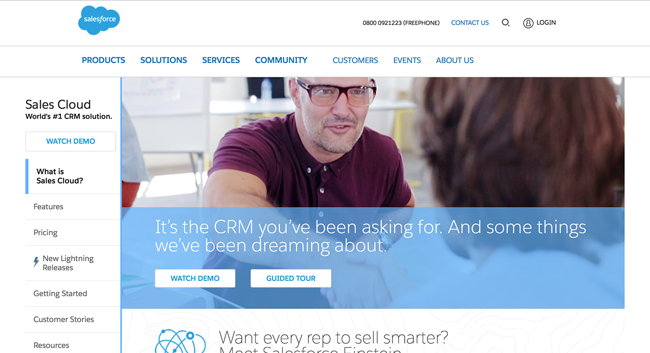 Leading CRM tool for marketing and sales team - SalesForce