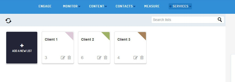 New service lists layout
