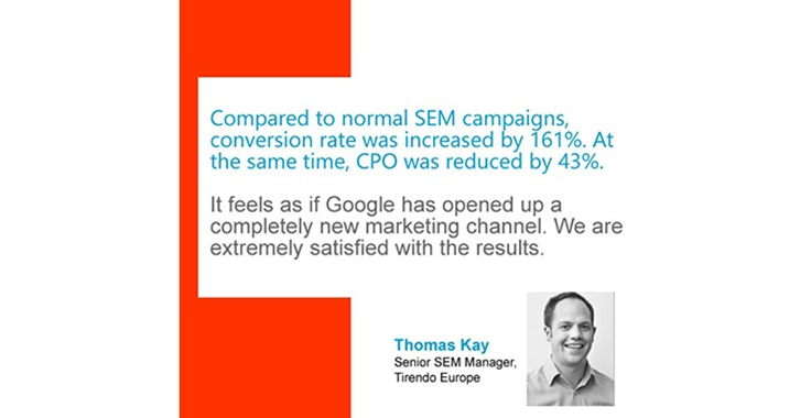 Thomas Kay, Senior SEM Manager, quote about SEM campaigns and Google.