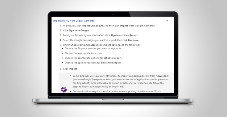 Transferring Google ads to Bing