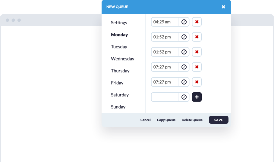 Smart Queues let you group social media posts by theme and schedule them at set times throughout the week