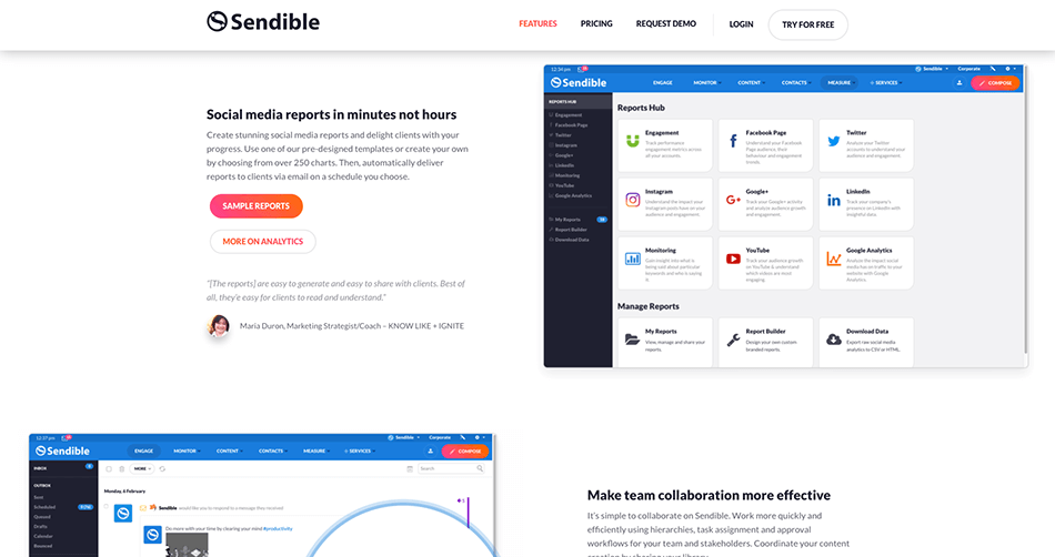 Feature pages on Sendible's new website